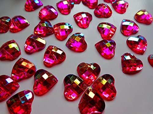 100pcs 14mm Pink Heart Shape Sew on Rhinestones Rose Red Flatback Acryl Crystals Accessory Gemstone Strass - Red Rose Acryl