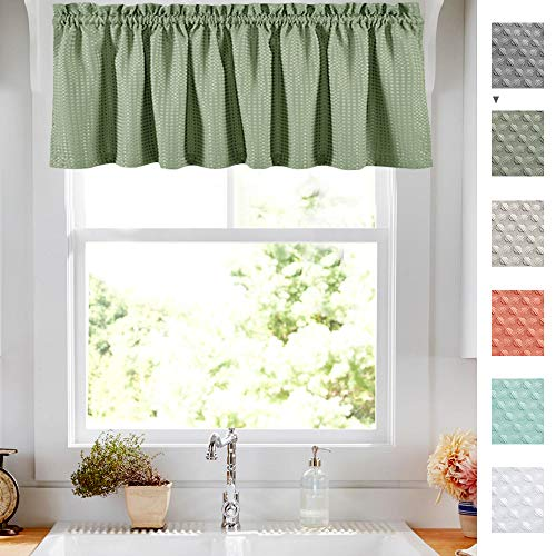 - Lazzzy Olive Waffle Weave Cafe Sage Green Curtains Waterproof Kitchen Window Curtain Valance for Bathroom 1 Panel 60 Width 18 inch Length