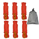 Reflective Nylon Rope, OBKJJ Tent Guyline Rope, with Ultra-light Aluminum Alloy Ceiling Rope Adjuster, Suitable for Camping Hiking Backpacks - Essential Camping Accessories, 6 Pieces 4MM 13 FT(Red)
