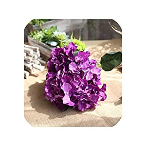loveinfinite Artificial Fake Silk Flower 5 Heads Real Touch Hydrangea Leaf Artificial Flowers Silk Bouquets for Home Party Wedding Decoration,4 85