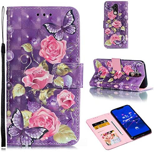 Zeebox® Huawei Mate 20 Lite 手帳型 ケース, 人気 PU レザー 財布型 薄型 スマホケース Huawei Mate 20 Lite おしゃれ 人気スマホケース 衝撃吸収 全面保護 カバー, 紫の花