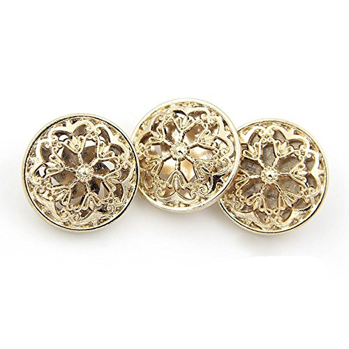 Buttons Metal Flower (10PCS Clothes Button - Fashion Hollow Flower Metal Shank Round Shaped Metal Button Set Sewing Button (18mm, Gold))