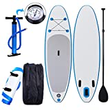 Kemanner 10' Inflatable Yoga Stand Up Paddle Board (6'' Thick), SUP Board with Adjustable Paddle, Dual Action Pump and Travel Backpack (US STOCK)