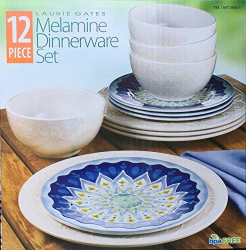 Amazon.com | Laurie Gates - 12 Piece Melamine Dinnerware Set (Blue u0026 White) Dinnerware Sets & Amazon.com | Laurie Gates - 12 Piece Melamine Dinnerware Set (Blue ...