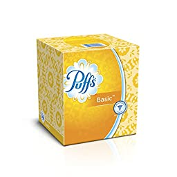 Puffs Basic Facial Tissues, 24 Cube Boxes (64 Tissues per Box)