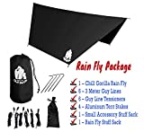 Chill Gorilla Pro Waterproof Tent Tarp, Rain Fly and Hammock Shelter [Essential Camping and Survival Gear] RIPSTOP Nylon Black