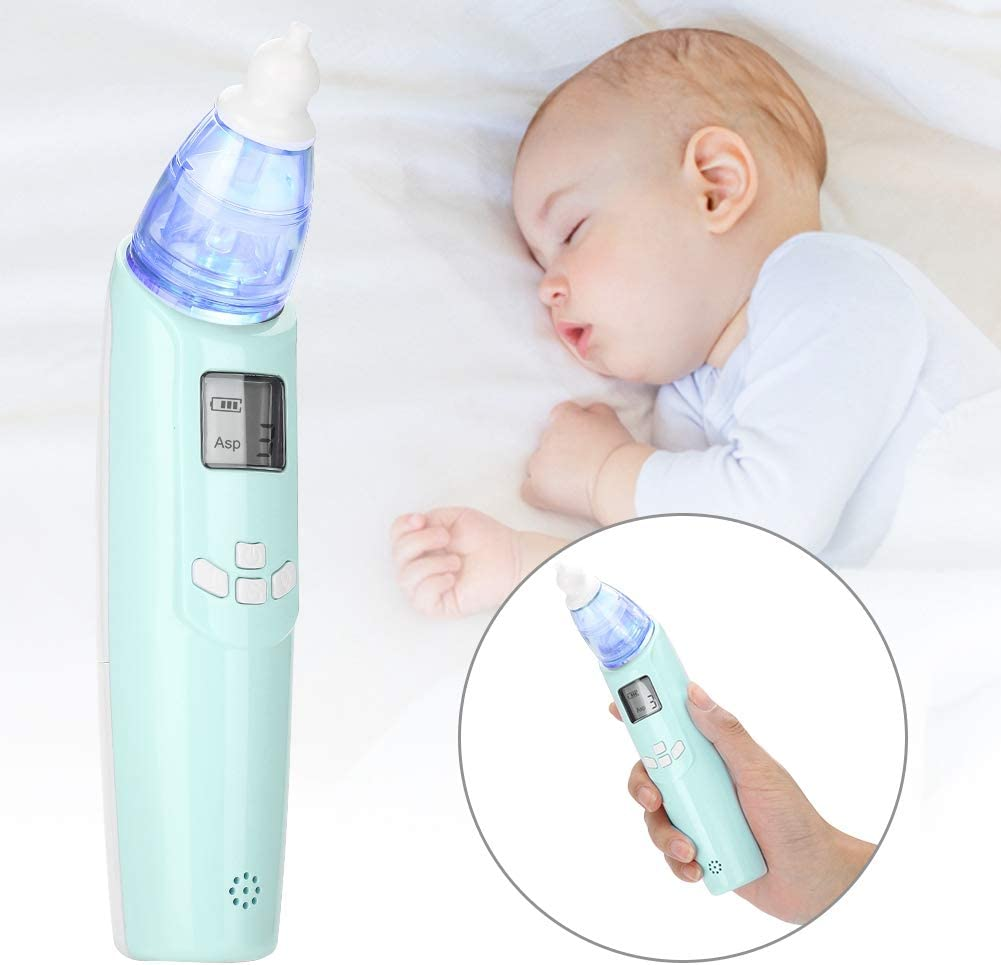 Light Blue Electric Nasal Aspirator Portable Baby Mucus Cleaner with Soft LED Light and Smooth Music for Newborn Infant Toddlers and Kid