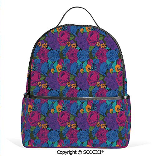 (Lightweight Chic Bookbag Vintage Lush Bouquet Shabby Chic Blooms in Exotic Boho Tones Beauty Image Decorative,Multicolor,Satchel Travel Bag Daypack)