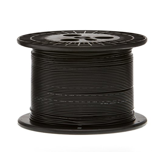 Remington Industries 24UL1007SLDBLA1000 24 AWG Gauge Solid Hook Up Wire, 1000 feet Length, Black, 0.0201'' Diameter, UL1007, 300 Volts