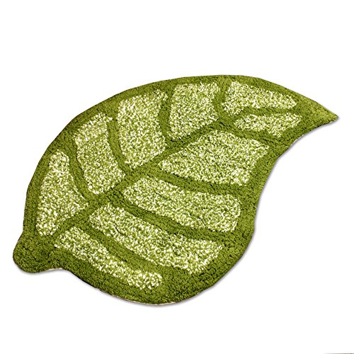 leaf Kaki, Green 100% Cotton Bath rug mat Area Rug, Kitchen, Door & Bath Rug , Decorative, Stylish Designs (Green)