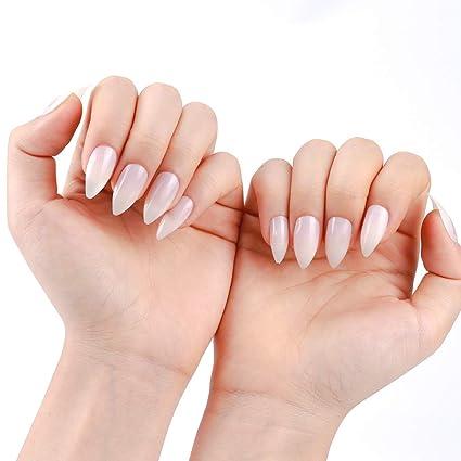 600 uñas postizas con cubierta completa de almendras largas, 10 tamaños, transparentes, profesionales, falsas uñas: Amazon.es: Belleza
