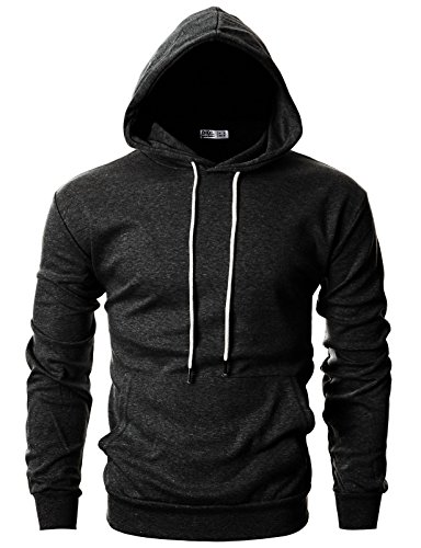 OHOO Mens Slim Fit Long Sleeve Lightweight Hoodie with Kanga Pocket/DCF010-CHARCOAL-XS
