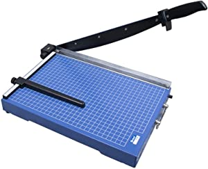 """United T15 15.4"""" Office-Grade Guillotine Paper Trimmer, 15 Sheet Capacity, Blue"""