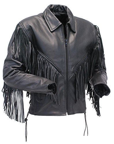 Fringed Womens Motorcycle Jacket - Jamin' Leather V Fringed Leather Motorcycle Jacket for Women (2XL) #L452ZFB Black
