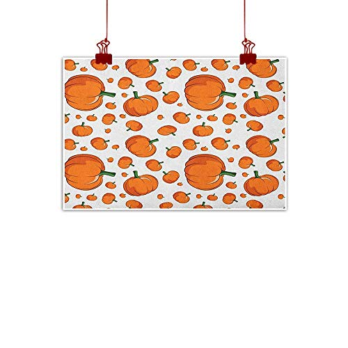 Wall Art Painting Print Harvest,Halloween Inspired Pattern Vivid Cartoon Style Plump Pumpkins Vegetable, Orange Green White 20