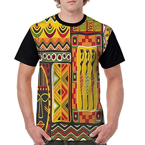 - Women Summer Streetwear,African Decorations Collection,African Elements Decorative Historical Original Striped and Rectangle Shapes Artsy Work,Multi S-XXL T Shirt Print Short Sleeve