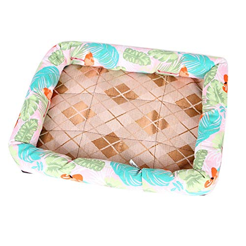 DOGKLDSF Camas S XL Summer Dog Bed Chihuahua Pitbull Puppy Cushion Beds Cute Cat Beds Soft Ice Silk Pet Bed For Small Dog/Cats, L