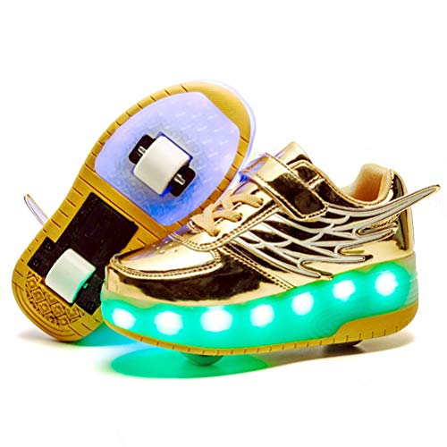 ONEKE Light Up Shoes Boys Girls Kids Roller Skates Sneakers USB Charge LED Wheeled Skate Running Shoes Rollerblades Sports Skating Shoes for Beginners (Golden, 2.5M Little Kid)