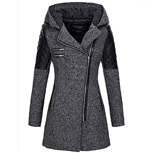 (FarJing Clearance Womens Coats,Women Winter Warm Slim Jacket Thick Parka Overcoat Hooded Zipper Coat Outwear (S,Gray )
