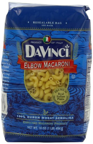DaVinci Pasta Short Cuts, Elbow Macaroni, 16 Ounce Bags (Pack of 12)