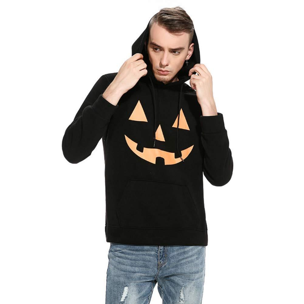 Unisex Hoodies Halloween Devil Pumpkin Face Print Pullover with Pockets