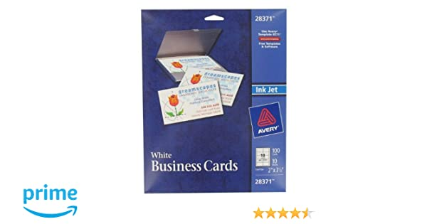 Amazon avery 28371 white ink jet printer business cards 100 amazon avery 28371 white ink jet printer business cards 100 count business card stock office products accmission Image collections