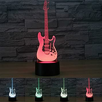Amazon 3d electric guitar music model night light 7 color 3d electric guitar music model night light 7 color change led table desk lamp acrylic flat aloadofball Image collections