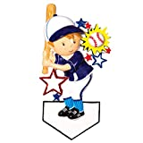 Personalized Baseball Player Christmas Ornament for Tree 2018 - Boy with Cap Holds Bat Ball with Stars - Athlete Coach Hobby College MLB Profession Mitt Brunette Blonde - Free Customization by Elves