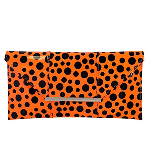 Envelope Dot Patent Orange Clutch Polka z4Z6HqFxw
