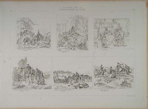 1870-lithograph-munich-painters-peter-hess-buerkel-adam-kirner-monten-heideck-original-lithograph