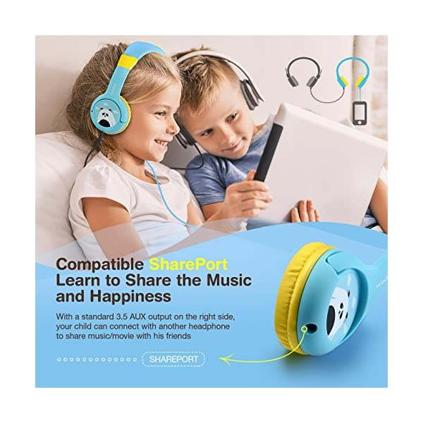 ac74db6f6b5 Mpow CH1 Kids Headphones w/85dB Volume Limited Hearing Protection & Music  Sharing Function, Kids Friendly Safe Food Grade Material, Tangle-Free Cord,  ...