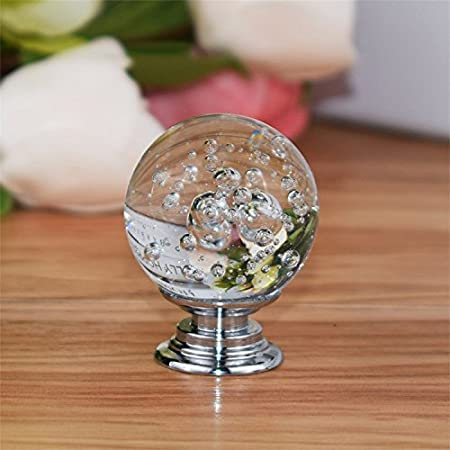 Set of 12 PCS Closet,Checkroom FirstDecor Transparent Decorative Cute Bubbles Crystal Glass Ball Shape Knobs//Handles//Pulls for Kitchen Cabinets,Cupboards,Wardrobe,Drawer,Dresser