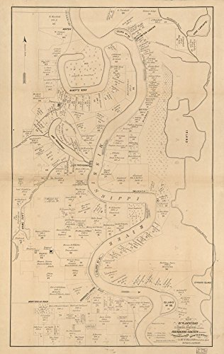 Vintage 1860 Map of Map of plantations in Carrol [sic] Parish, Louisiana and Issaquena County, Mississippi - Shows names of residents. - Orientd with north toward upper right. - Copy imperfect: Mounted on cloth and stained. -