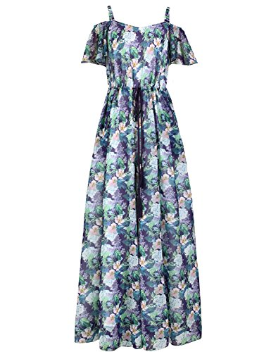 Artka Women's Elegant Floral Off Shoulder Drawstring Flared Chiffon Rompers Pants multicolored M (Jumpsuits Womens Ems)