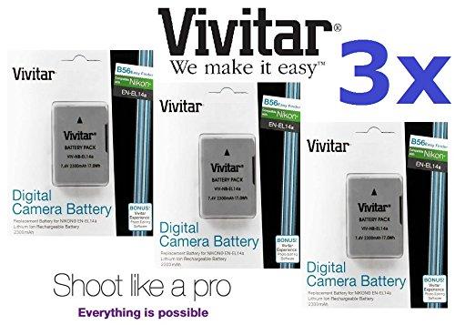 3 x 2300 mAh en-el14 a Li - Ion Battery for Nikon d5200 d5100 d3200 d3100 d5300 d3300 d3400 d5500 B074Y7B5T5