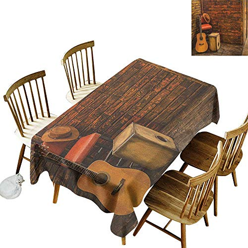 kangkaishi 3D Printed Long Tablecloth Desktop Protection pad Music Instruments on Wooden Stage in Pub Beverage Cafe Counter Bar W60 x L126 Inch Dark Orange Amber Sand Brown