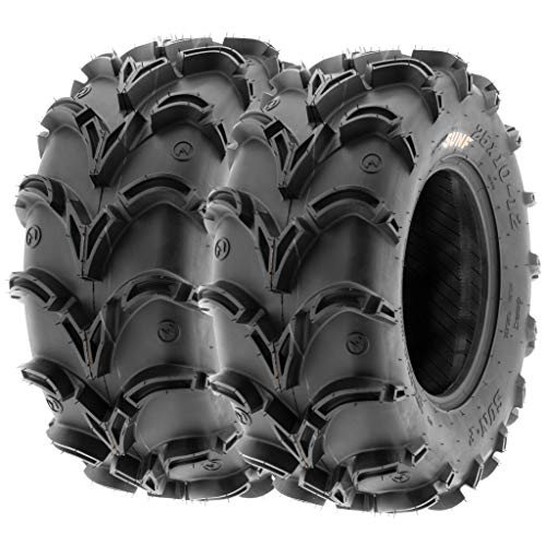 Pair of 2 SunF A050 AT 28x10-12 ATV UTV Deep Mud Terrain Tires, 6 PR, Tubeless