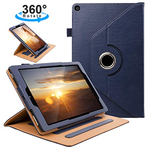 ZTOZ All New HD 10 Tablet (7th Generation,2017 Released) Cover Case with Card Slots, 360 Degree Rotating and Multi-Angle Viewing Stand with Auto Sleep Wake for 10.1 inch HD10 Tablets - Blue ()