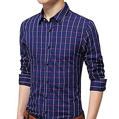 Men's 100% Cotton Long Sleeve Plaid Slim Fit Casual Formal Dress Shirt XUNMOO