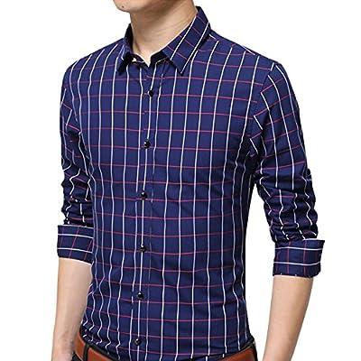 Men's 100% Cotton Long Sleeve Plaid Slim Fit Casual Formal Dress Shirt XUNMOO