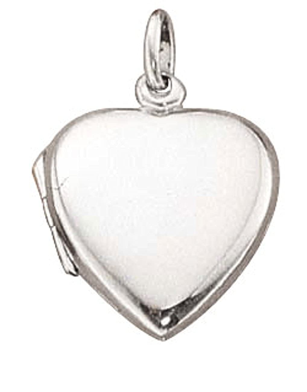 Sterling Silver Plain Flat Heart Locket Pendant