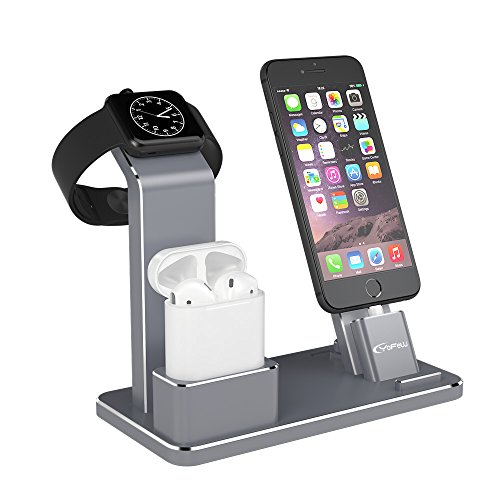 YoFeW Apple iWatch Stand Aluminum 4 in 1 Apple Watch Charging Stand AirPods Stand Accessories Charging Docks Holder for Apple Watch Series 2/ 1/ AirPods/ iPhone 7/7 Plus /6S /6S Plus/ iPad Gray