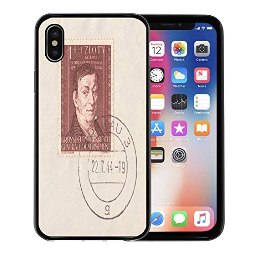 Emvency Phone Case for iPhone X Case Germany Circa 1944 Stamp Printed in Deutsches Reich General for iPhone x Phone Csae Clear Protective Cover Decoration