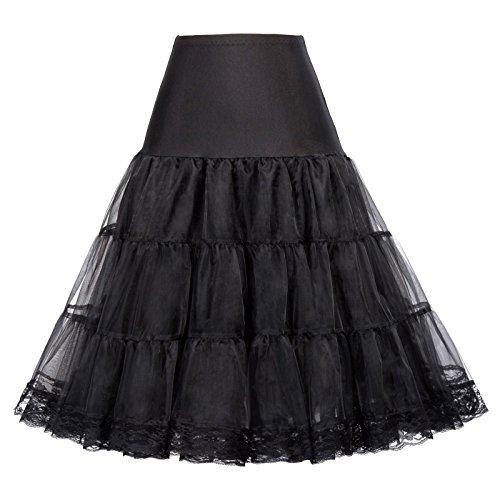 GRACE KARIN Flattering Short Under Lace Skirts Full Circle (S,Black)
