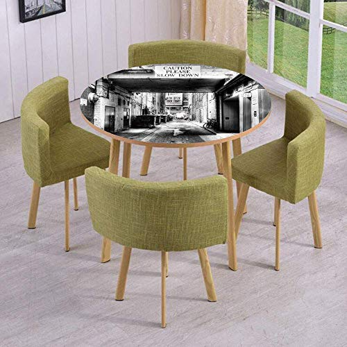 (SINOVAL Fashion Round Table/Wall/Floor Decal Strikers/Removable/Caution Please Slow Down Sign on Passage Town Old Fashion Urban District)