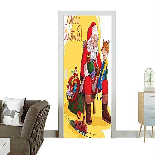 Art Door Stickers Child Sitting Santas Knee Doll and Toy Train Door Decals for Home Room DecorationW35.4 x H78.7 -