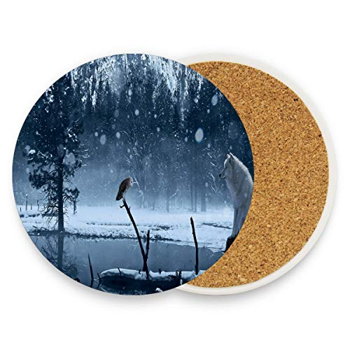 LoveBea Winter Fox Wolf Coasters, Prevent Furniture from Dirty and Scratched, Round Wood Coasters Set Suitable for Kinds of Mugs and Cups, Living Room Decorations Gift 1 Piece