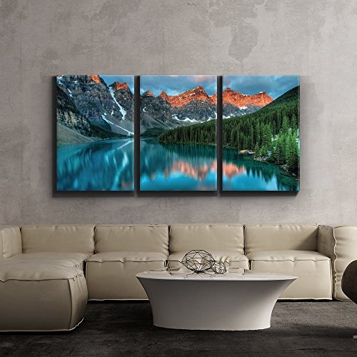 Print Contemporary Art Wall Decor Tranquil mountain lake Artwork Wood Stretcher Bars x3 Panels