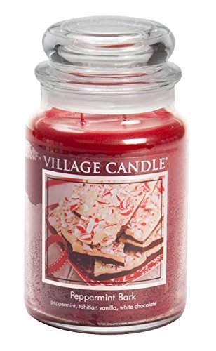 (Village Candle Peppermint Bark 26 oz Glass Jar Scented Candle, Large)