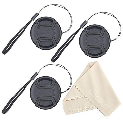 UNIQUE DESIGN Lens Cap Bundle, 3 Pcs Center Pinch Lens Cap and Cap Keeper Leash for Canon Nikon Sony DSLR Camera + Microfiber Cleaning Cloth (3 8 Scope Mount Adapter)